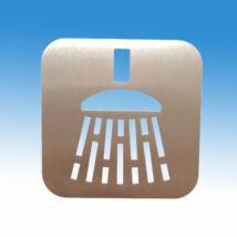 Zuhanyzó piktogram, szálcsiszolt rozsdamentes acélból