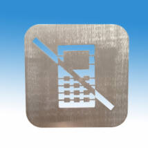 Telefonálni tilos piktogram, szálcsiszolt rozsdamnetes acélból